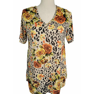 Lucky & Blessed Floral Leopard Print Blouse